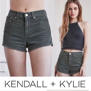 Kendall and Kylie green corduroy shorts